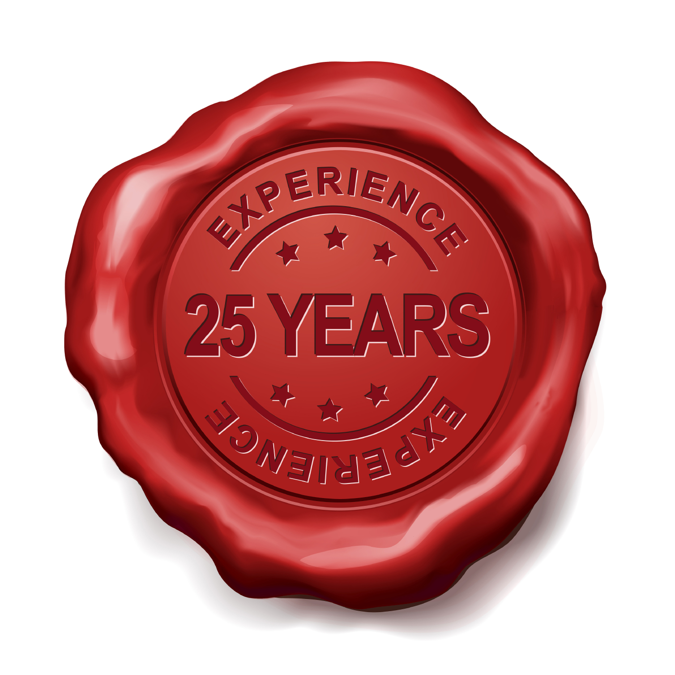 25 years experience red wax seal over white background